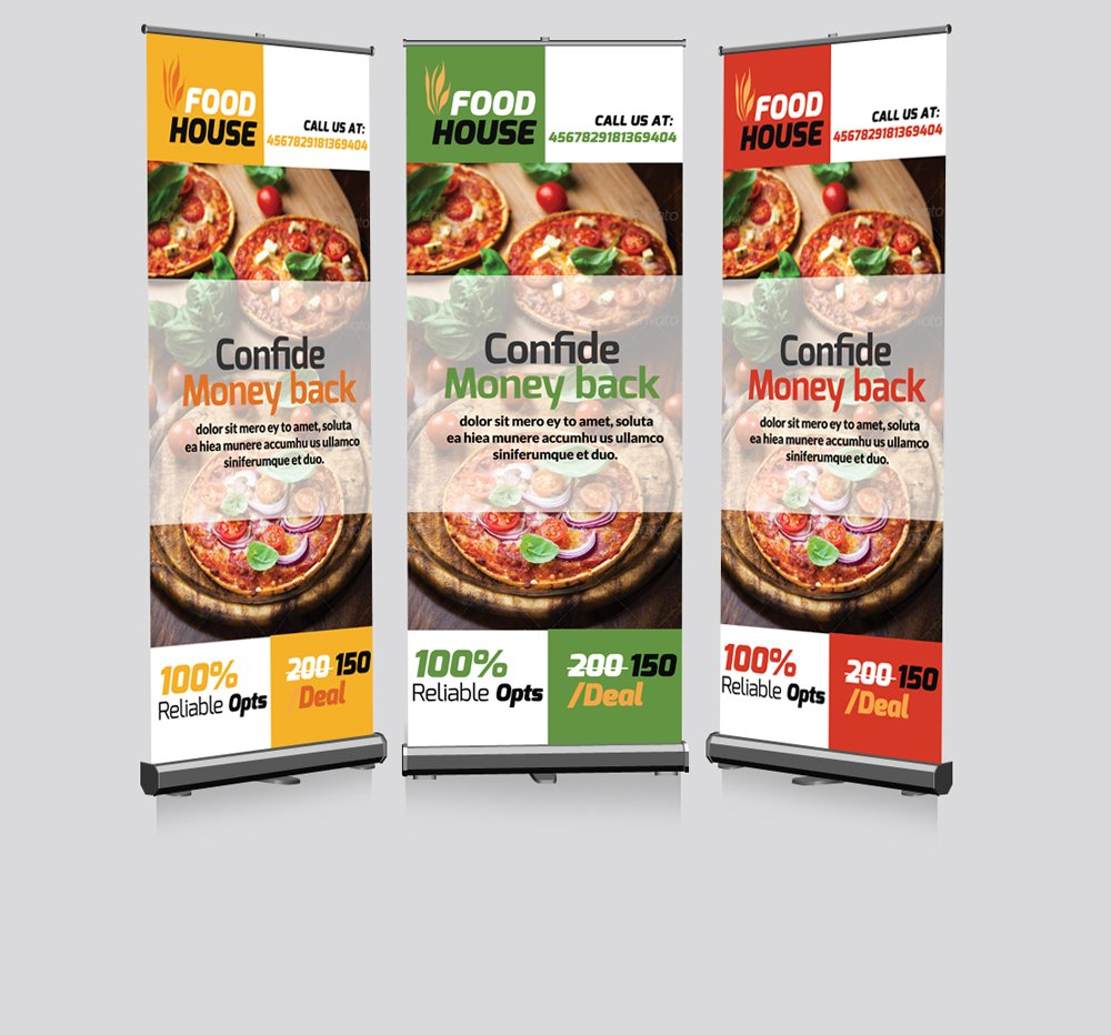 restaurant roll up banners template presentation templates