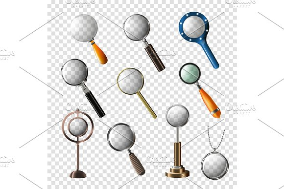 Magnifying Glass Vector Magnification Zoom Or Search And Magnify Research Lens Illustration Set Of Magnified Scientific Exploration Sign Isolated On Transparent Background