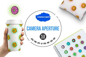 Camera aperture icons set, pop-art