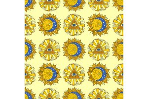Hand drawn yellow sun planet esoteric occult mystic seamless pattern background star vector illustration