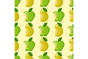 Bitten apple background vector illustration textile green fruits slice seamless pattern.
