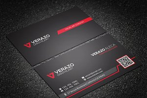 Bold Red QR Code Business Card