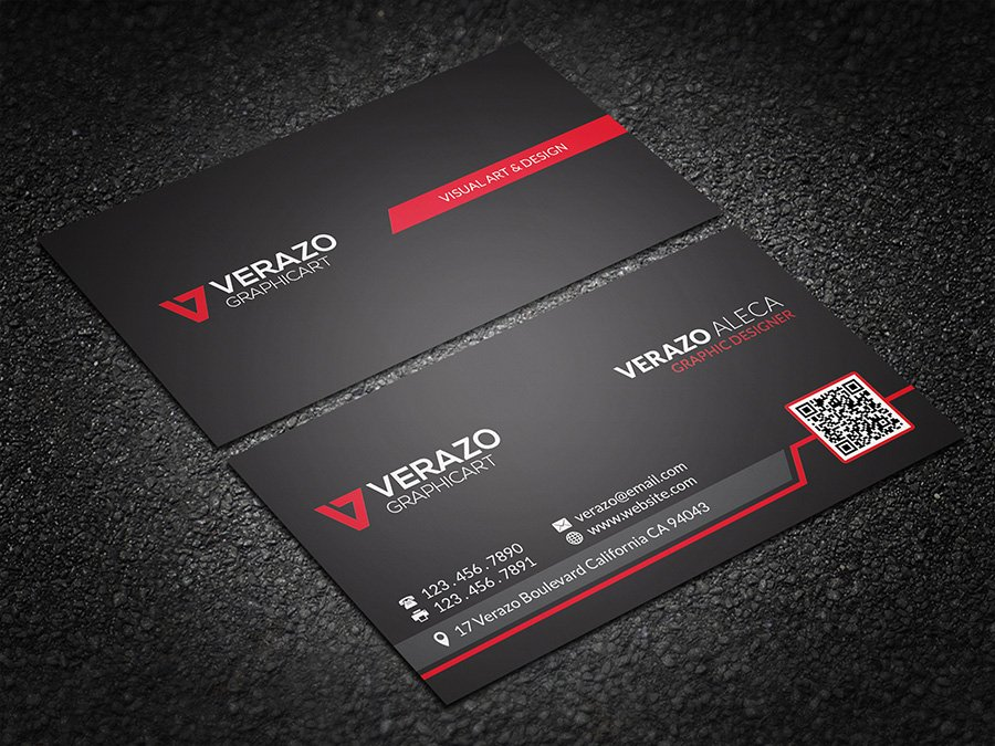 Bold red qr code business card business card templates creative bold red qr code business card business card templates creative market colourmoves Images