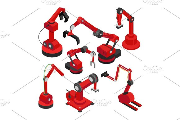 Electronic Machinery Set Vector Illustration