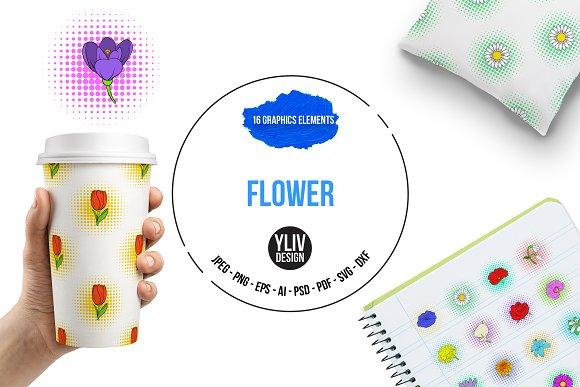 Flower Icons Set Pop-art Style