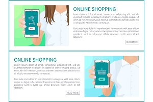Online Shopping Web Pages Vector Illustration