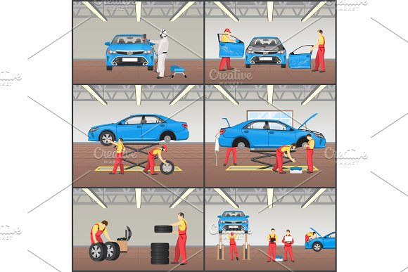 Car Service Steps Collection Vector Illustration