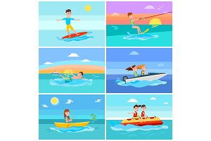 Summer Activities Set Seascape Vector Illustration