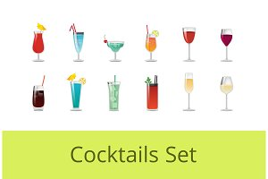 Tasty Summer Cocktails and Alcohol Beverages Set