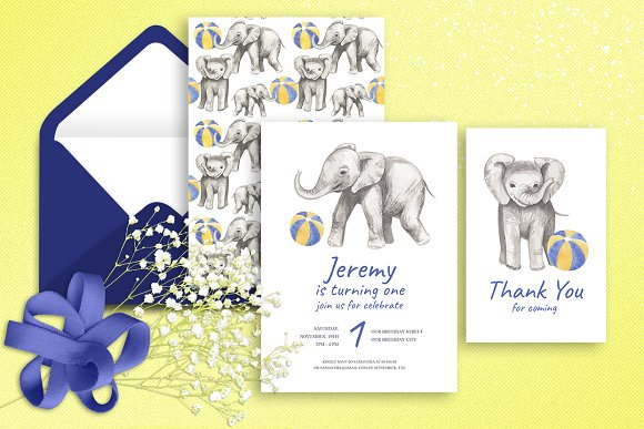 Elephant First Birthday Invitation