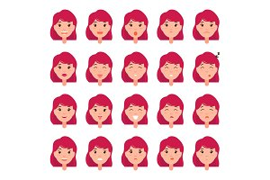Woman Emotions Vector Emoji of Girl Good Bad Mood