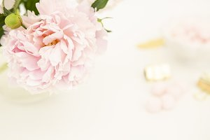 Styled stock photo - pink peonies