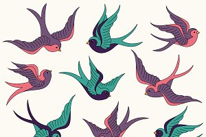 Swallows Vectors and Clipart