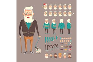 Grandfather Collection Builder Vector Illustration