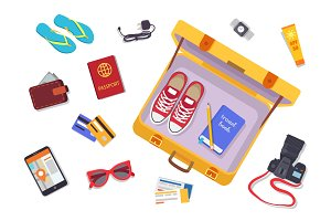 Trip Planning Luggage Set Vector Illustration