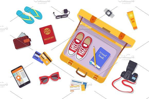Trip Planning Luggage Set Vector Illustration