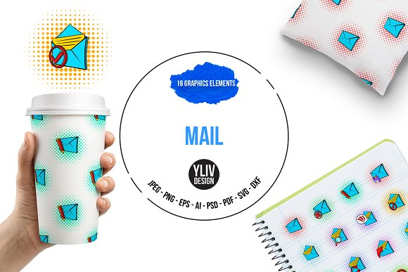 Mail Icons Set Pop-art Style