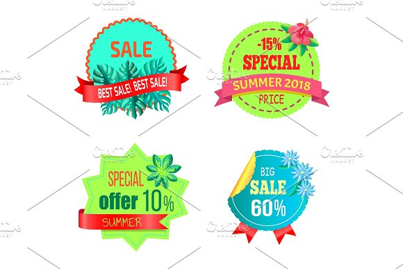 Summer 2018 Sale Promo Posters Set Special Offer