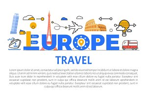 Europe Travel Promotional Banner with Sample Text