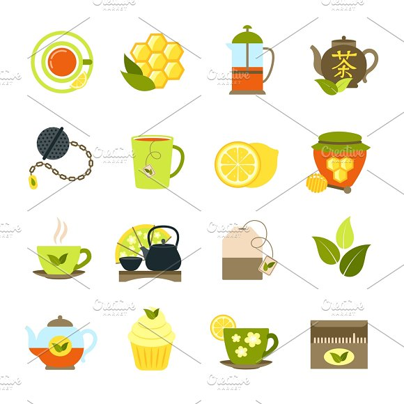 Black And Green Tea Icons Set