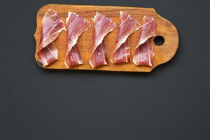 Sliced jamon Serrano or Iberico