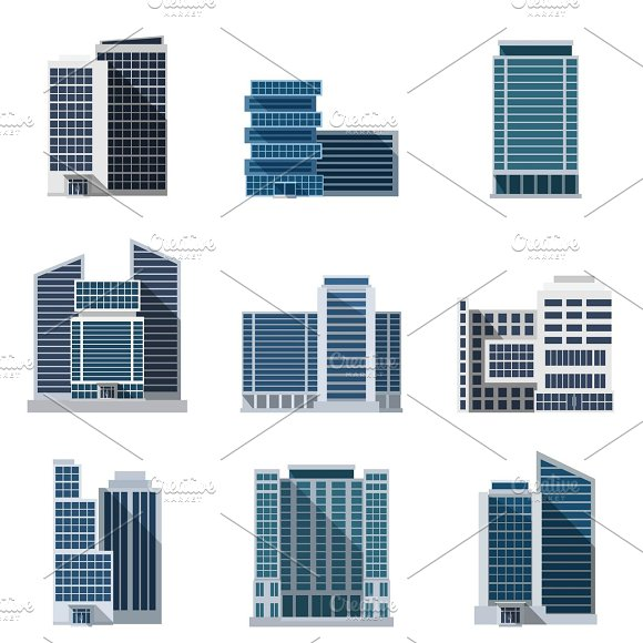 Office Buildings Flat Icons Set
