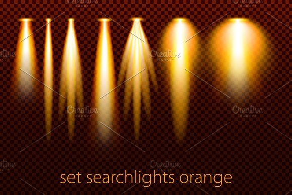 Set Searchlights Spot Lights Vector