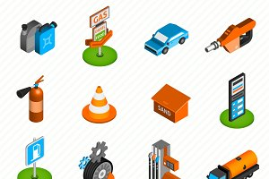 Gas diesel station isometric icons