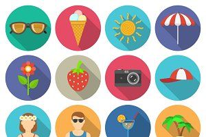 Summer vacations and traveling icons