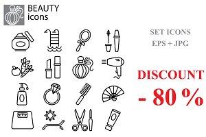 Beauty, fashion and makeup set icons