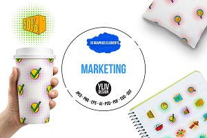 Marketing set icons, pop-art style