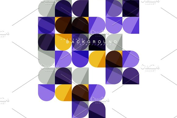 Round Square Geometric Shapes On White Tile Mosaic Abstract Background