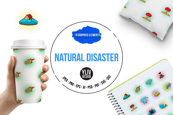 Natural Disaster Icons Set Pop-art