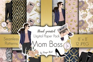 Mom Boss Digital Paper Pack