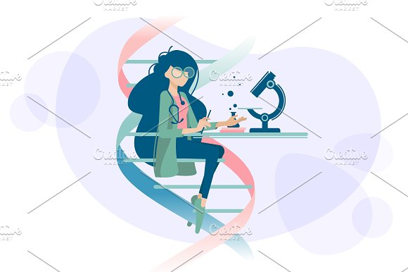 Woman Doctor Examines DNA Microscope