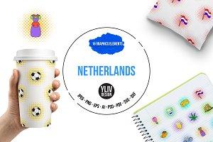 Netherlands icons set, pop-art style
