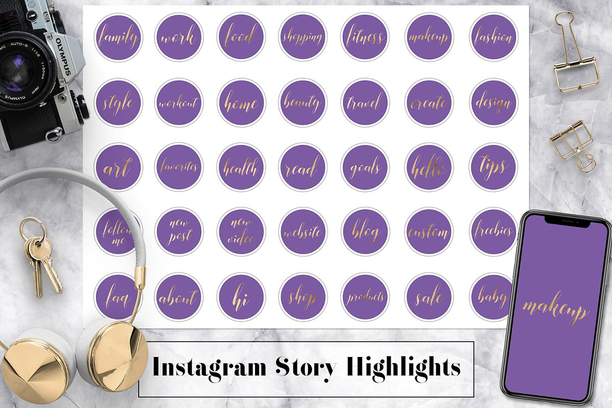 Violet & Gold Instagram Story Icons in Instagram Templates