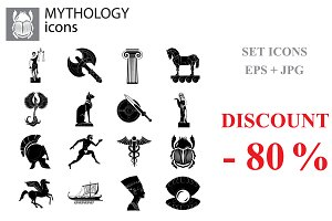 Mythology set vector black on white