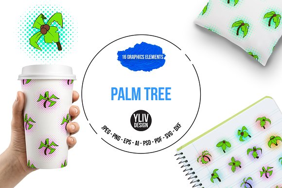Palm Tree Icons Set Pop-art Style
