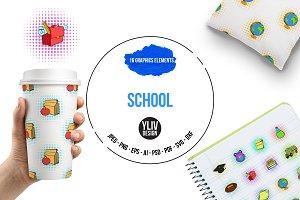 School icons set, pop-art style