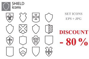 Web icons set - Shields black
