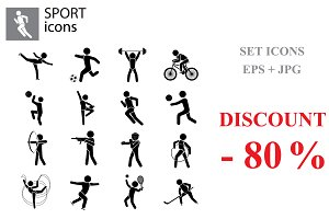 Sport set. Kinds of sports black