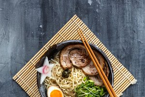 Miso ramen bowl with chasu, egg, daikon, copyspace