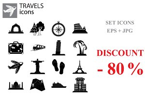 Travel Set vector black on white