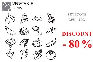 Web icons set - Vegetables black