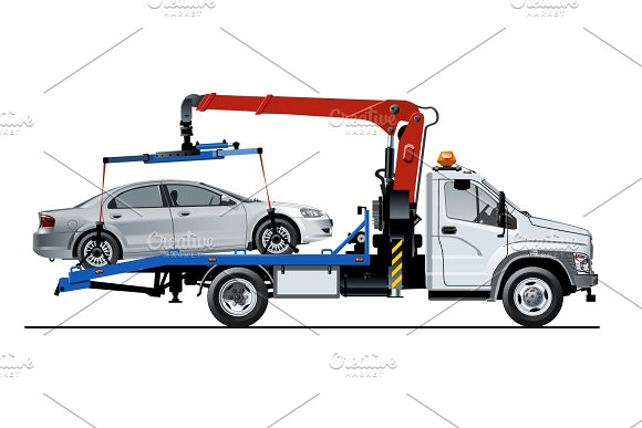 Vector Tow Truck Template Isolated On White