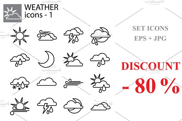 Web line set. Weather forecast set in Icons