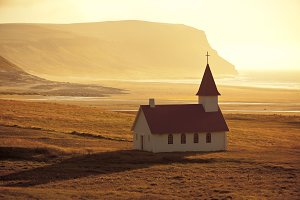 Typical Rural Icelandic Church at