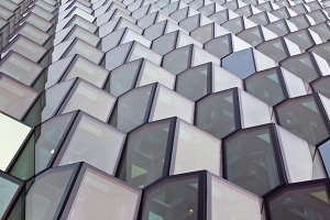 Facade detail of Harpa Concert Hall