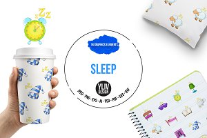Sleep symbols icons set, cartoon
